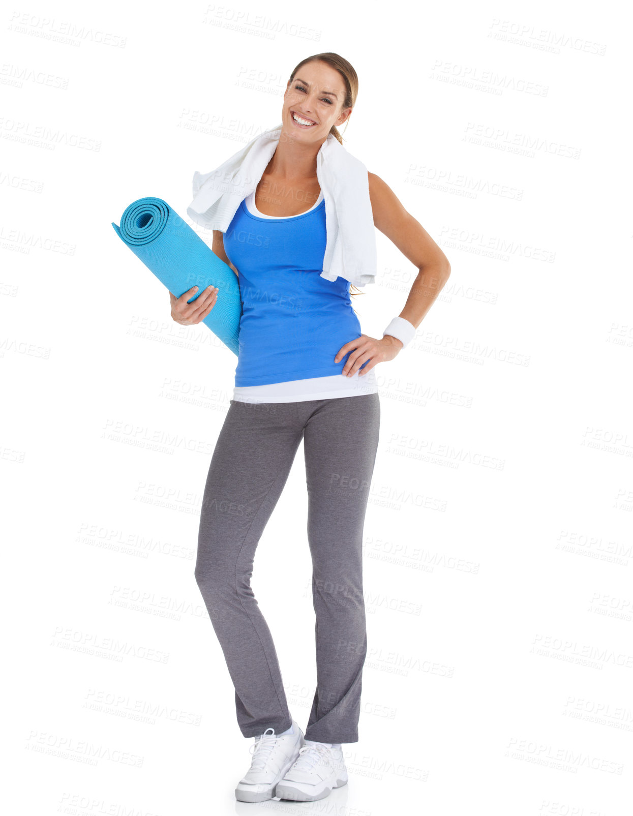 Buy stock photo Fit young woman holding a pilates mat with a smile - isolated on white