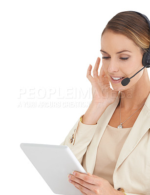 Buy stock photo An attractive customer support representative taking a call