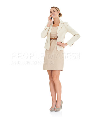 Buy stock photo Smiling busineswoman using mobile phone over white background