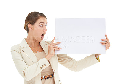 Buy stock photo A beautiful businesswoman holding a blank placard