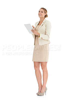 Buy stock photo Full-length image of a businesswoman holding a digital tablet