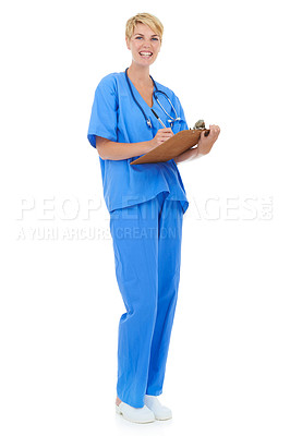 Buy stock photo A young female doctor holding a clipboard against a white background