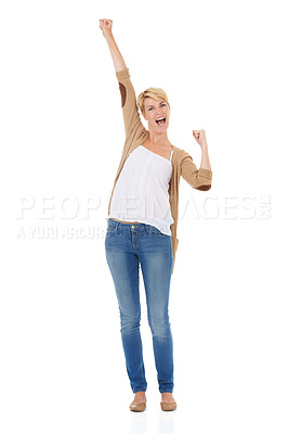 Buy stock photo Full length of an excited young woman celebrating while isolated on a white background