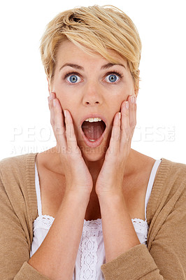 Buy stock photo A surprised young woman with a hand to her face and isolated on a white background