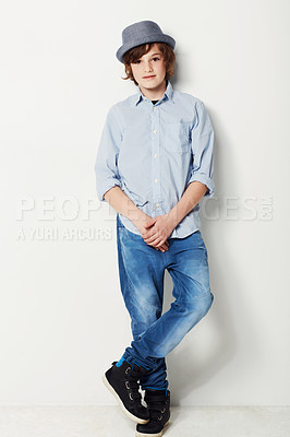 Buy stock photo Studio shot of a young preteen boy in casual wear