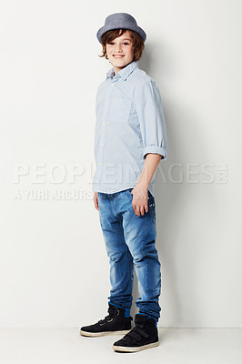 Buy stock photo Cute preteen boy wearing trendy attire while isolated on white