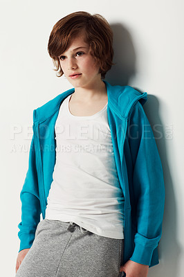 Buy stock photo Cute preteen boy wearing casual attire while isolated on white