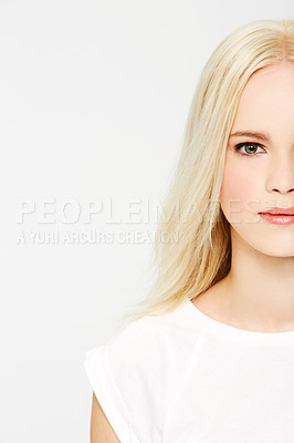 Buy stock photo Cropped image of a gorgeous young woman against a white background