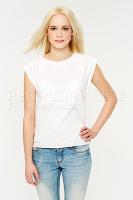 Buy stock photo A beautiful young woman smiling on a white background