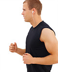 Profile view of a smart guy listening to music, jogging gesture