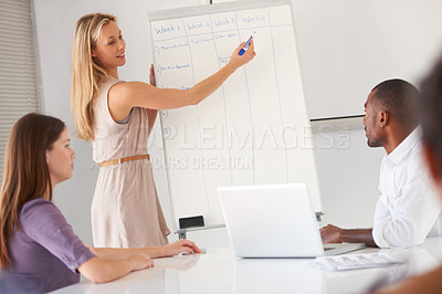 Buy stock photo An attractive businesswoman giving a presentation in a meeting