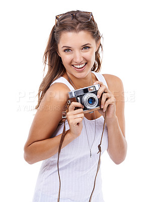 Buy stock photo A cute young photographer isolated on a white background