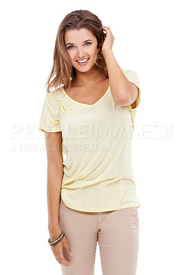 Buy stock photo Portrait of an attractive young woman giving you a smile