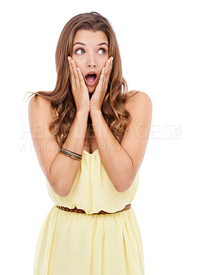 Buy stock photo Attractive young woman standing with her hands on her face on isolated background
