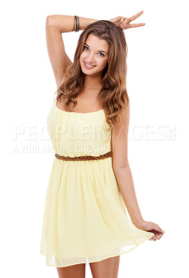 Buy stock photo Portrait of an attractive young woman showing you a peace sign over her head
