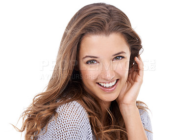 Buy stock photo Studio portrait of a young brunette woman isolated on white