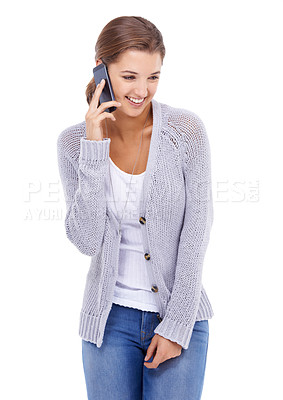Buy stock photo A young woman talking on the phone