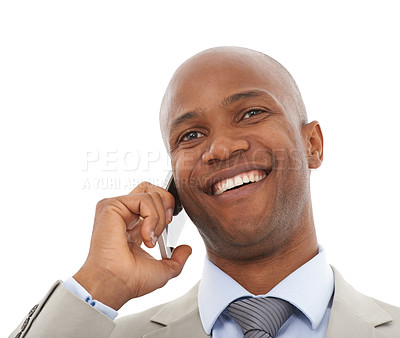 Buy stock photo A young African-American businessman speaking on his cellphone