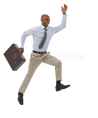 Buy stock photo An African-American businessman leaping with a briefcase in his hand