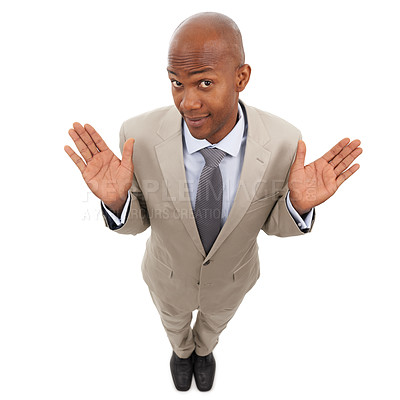 Buy stock photo A handsome african american businessman isolated on a white background and shrugging