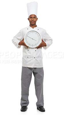 Buy stock photo Portrait of an african chef holding a clock