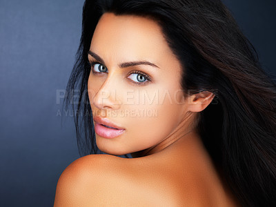 Buy stock photo Closeup portrait of young female giving you a sensuous look