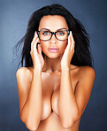 Sexy woman in retro glasses