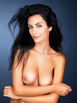Buy stock photo Beautiful nude woman with hands folded giving a sultry look