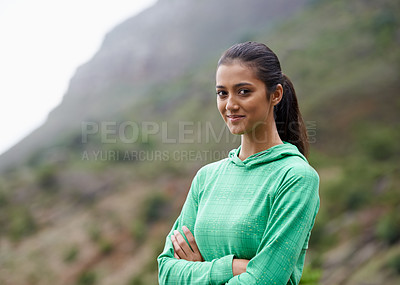 Buy stock photo Portrait of an attractive young woman enjoying a day outdoors