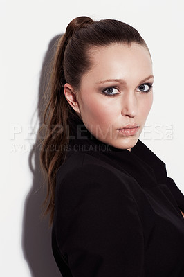 Buy stock photo Portrait of an attractive young woman in studio