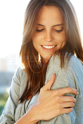 Buy stock photo Smart young female model looking happy