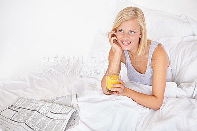 Buy stock photo A gorgeous young blond woman looking away thoughtfully in bed