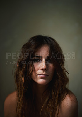 Buy stock photo Cropped head and shoulders portrait of a nude young woman