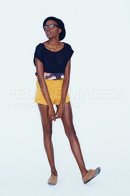 Buy stock photo An african american hipster posing in the studio