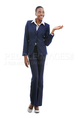 Buy stock photo A beautiful young african american businesswoman presenting copyspace isolated on white