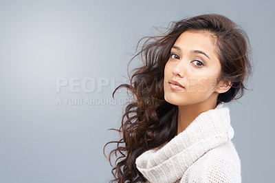 Buy stock photo Beautiful girl looking at camera with copyspace