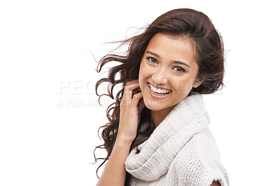 Buy stock photo A smiling woman in winter clothing with a white background and copyspace