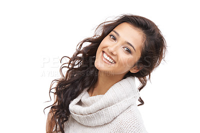 Buy stock photo Pretty woman in winter clothing smiling at the camera with a white background