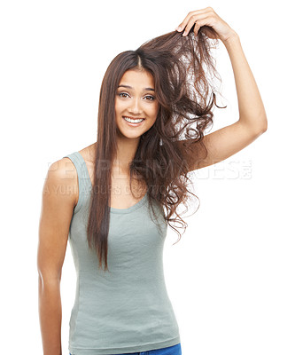 Buy stock photo Portrait of a pretty woman with hair problems
