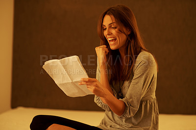 Buy stock photo Excited young woman reading a documents