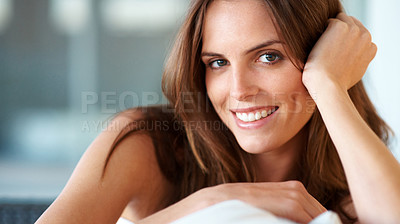 Buy stock photo Closeup of pretty young woman smiling