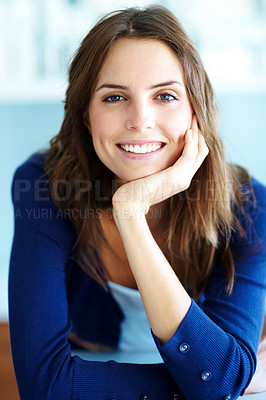 Buy stock photo Portrait of relaxed young woman smiling
