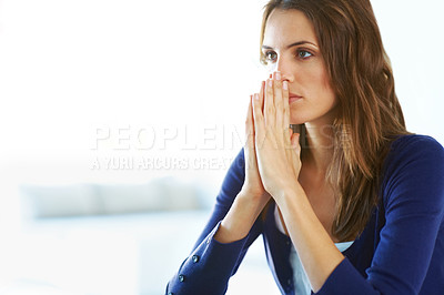 Buy stock photo Portrait of thoughtful young woman - Indoor