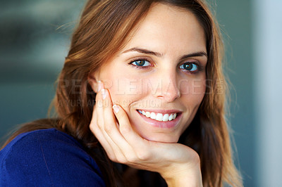 Buy stock photo Closeup portrait of happy young lady smiling