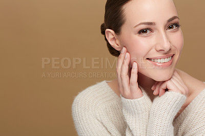 Buy stock photo Studio portrait of an attractive young woman
