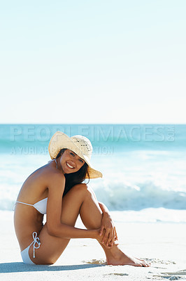 Buy stock photo A gorgeous young woman sitting on the beach
