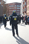 Watchful riot police