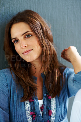 Buy stock photo Cute young woman looking at something interesting