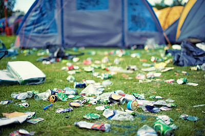 Buy stock photo Shot of garbage at a festival