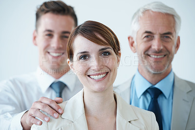 Buy stock photo Portrait of a group of smiling business people